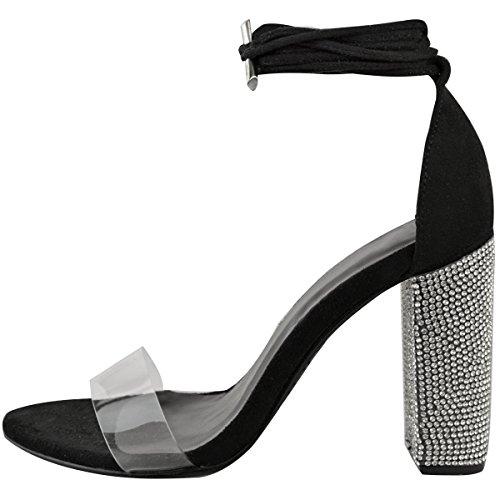 Strap Block Suede Heels Party Gem Sandals Thirsty Perspex Faux High Womens Fashion Black Diamante qAfvZxwHR