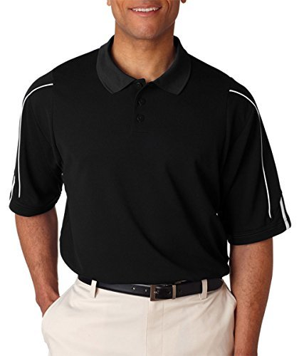 (Adidas Men's 3-Stripes Contrast Piping Polo Shirt, Blk/Wht, Large)