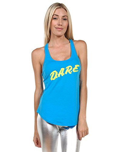 Women's Retro Blue Dare Tank Top Shirt - Neon 80's Ladies Halloween Costume (Small) -