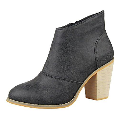 HooH Women's Winter Zipper Chunky Ankle Boots Black
