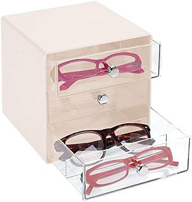 mDesign Cajas para gafas de sol – Cajoneras de plástico con 3 compartimentos – Organizador de armarios para guardar todo tipo de gafas – transparente y crema: Amazon.es: Hogar