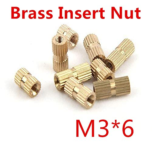 Ochoos 100pcs//lot M36 M3 x 6 Closed End Brass Insert Nut Single Thread Brass Knurl Nut OD=4mm