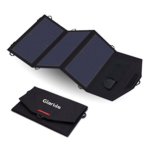 GIARIDE 12V 18V 21W Cargador Panel Solar Sunpower Baterías de Coche Plegable Placa Solar Portátil (18V DC, 5V USB Salida…