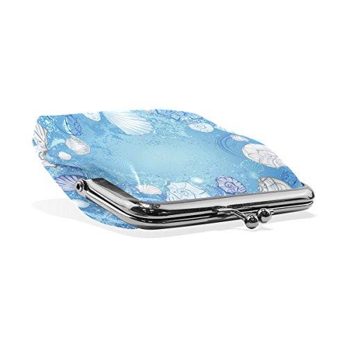 Petit Mer Cuir Blue Purse Portefeuille De Fermeture Coin D'embrayage Multicolore Seashells Monnaie Sea Pression En Coosun Et Étoiles adYRvqw