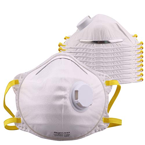 GOVALVE Disposable Dust Face Mask - N95 Particulate Respirator with Valve NIOSH Approved for Painting Construction Chemical Cleaning Smoke Drywall Safety Mask (10 PACK)