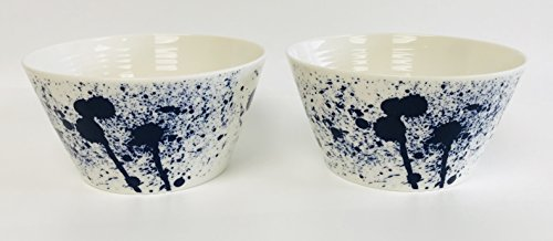Royal Doulton Fruit Bowl (Royal Doulton Pacific Contemporary White With Navy Splash Design | Set Of 2 Bowls | 6 inches x 3 inches)