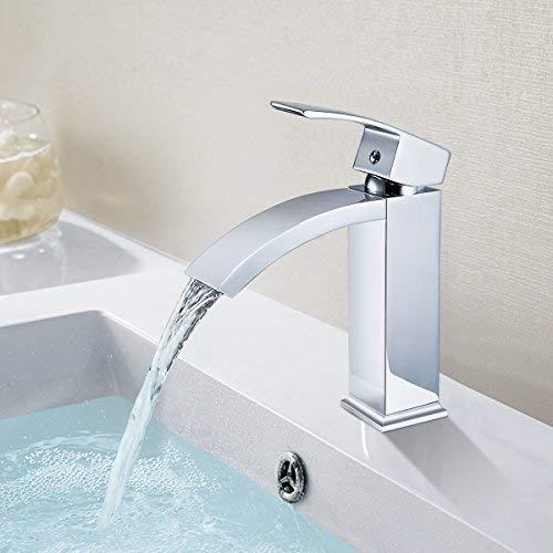 ERNTOGO Waschtischarmatur Schwarz Wasserhahn Bad Wasserfall Waschtisch Badarmatur waschbeckenarmatur Waschbecken Badzimmer