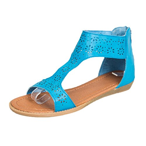 IGEMY Women Gladiator Sandal Back Zip Closure Insole Sandal Closure and Moderate Heels Shoes Blue