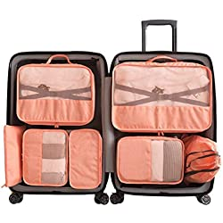 my FL Packing Cubes 7 pcs Backpack Organizers Set for Carry on Travel Bag Luggage Cube (Pink)