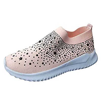 Haomigol Women Crystal Bling Slip On Sneakers Casual Comfortable Flat Loafers Platform Anti-Slip Work Walkings Shoes Sandals at  Women's Clothing store