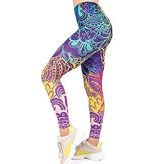 High Waisted Seamless Workout Leggings - Women?s Mandala Printed Yoga Leggings, Tummy Control Running Pants, Blue, One Size