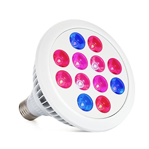 LED Grow Light, EleFox Best Full Spectrum Indoor Grow Lights LED for Marijuana, Indoor Plants, Weeds, Vegetables - Less Cost, More Growth (12 Watts, 3 Bands, E27)