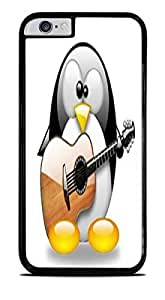 Cute Penguin Playing the Guitar Black Hardshell Case for iPhone 6 (4.7)