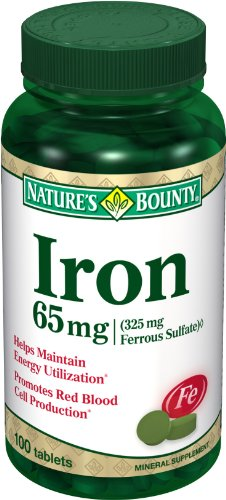 Nature's Bounty Iron 65 Mg.(325 mg  Ferrous Sulfate), 100 Tablets, (Pack of -