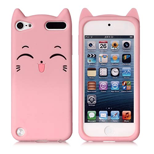 iPod Touch 5 Case, iPod Touch 6 Case, Fashion Cute 3D Pink Meow Party Cat Kitty Kids Girls Lady Protective Cases Soft Case Skin for Apple iPod Touch 6th and iPod Touch 5 (5 Apple Ipod Cases For Girls)