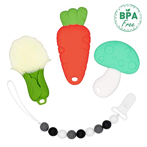 Baby Teething Toys,4in1,BPA-Free Silicone Vegetable Carrot Teether Toy Set with Chewable Bead Pacifier Clip for Unisex Babies,Infant,Freezer Friendly,Baby Shower Gift