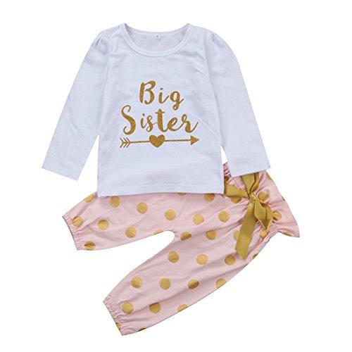 Angelchild Baby Girls Little Big Sister T-Shirt Romper + Polka Dot Pants Bowknot Outfits Set Big 90