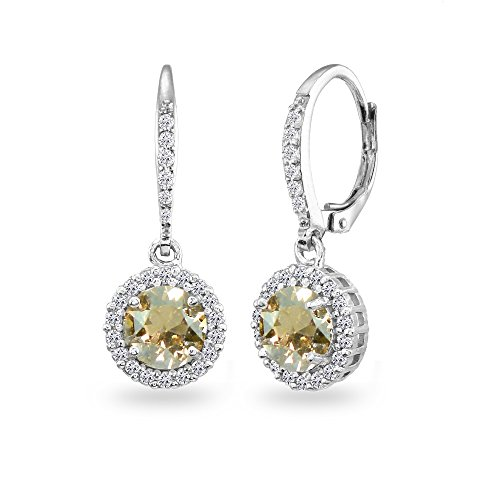 Sterling Silver Golden Shadow Round Halo Dangle Leverback Earrings Made with Swarovski Crystals - Golden Round Earrings