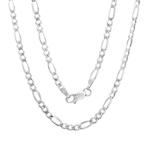 Verona Jewelers 3MM 925 Sterling Silver Classic Figaro Chain - Light Luster Anklet and Necklace Figaro Chain ()