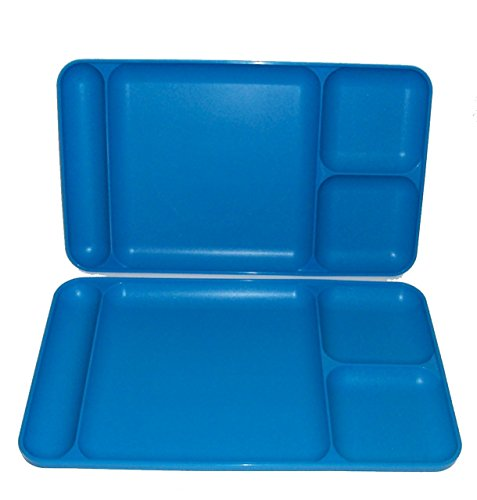 Tupperware Divided Dining TV Trays Picnic Kids Lunch Plates Azure Blue
