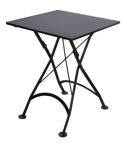 24in Square Top (Mobel Designhaus French Café Bistro Folding Table, Jet Black Frame, 24