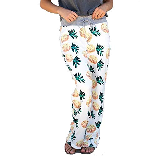 COSYOU Women Loose Floral Wide Leg Pants Mid Waist Straight Trousers Long Pants (Pineapple, XXL)