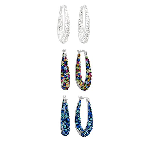 Crystalogy 3 Pair Set of Women's Jewelry Silver Plated Multi Crystal Hoop (Multi Coloured Gemstone Earrings)