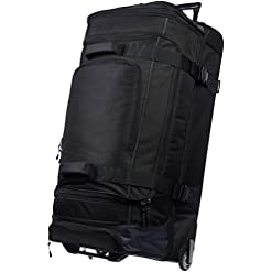 Travel Junkie 41LFuF6n6DL._SS247_ Amazon Basics Ripstop Rolling Travel Luggage Duffle Bag With Wheels - 37.5 Inch, Black