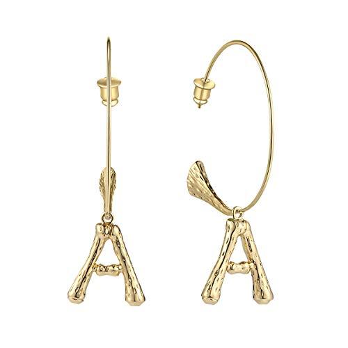 T400 Golden 26 Letter Initial Charm Bamboo Hoop Earrings Birthday Gift for Women Girls