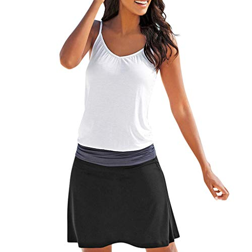 Adeliber Summer Dresses for Women Women's Summer Sundress Spaghetti Strap Button Down Dress with Pockets Black