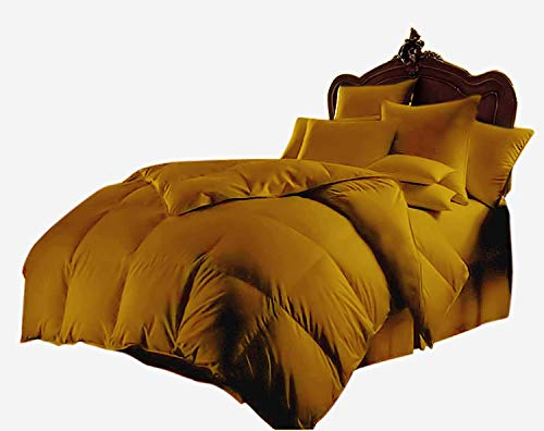 All Season Luxurious 800 Series,Luxury Goose Down Alternative Comforter, Queen Size – Quilt 3 Pc Comforter -100% Egyptian Cotton Comforter Set, Hotel Quality 600 GSM,Gold, (90″x90″)