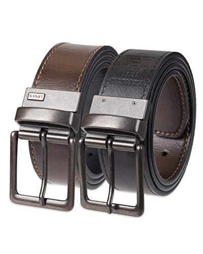 Levi's Men's Levis 1 9/16 in. Reversible Belt With Antique Copper Buckle,Brown/Black,Large (Best Way To Get Copper)
