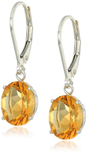 Sterling Silver Oval Citrine Dangle Earrings ()