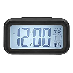 Alarm Clock, Harryup LED Clock Slim Digital Alarm Clock Large Display Travel Alarm Clock with Calendar Battery Operated for Home Office (Temperature Display, Snooze Function, Smart Back-light) (Black)