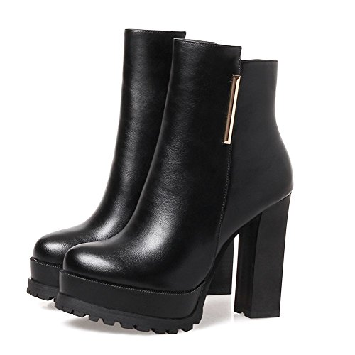 KingRover Women's Zipper Ankle Boots Metallic Decoration Platform High Heels Buckle PU Leather Booties Chunky Black iC41jF6il