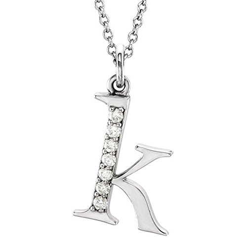 Dazzlingrock Collection 0.05 Carat (ctw) 14K Diamond Lowercase Letter 'k' Initial Pendant, White ()