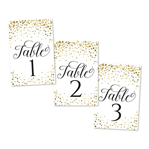 1-25 Gold Glitter Table Number Double Sided Signs for Wedding Reception, Restaurant, Birthday Event, Calligraphy Printed Numbered Card Set Centerpiece Decoration Setting Reusable Frame Stand 4x6 Size -