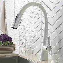 KRAUS Nolen Dual Function Pull-Down Kitchen Faucet, Chrome/White Finish, KPF-1673CHWH