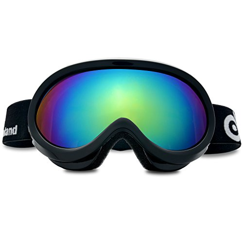 ODOLAND Ski Goggles for Youth Age 8-16 ¨C UV400 Protection and Anti-Fog ¨C Double Grey Spherical Lens for Sunny and Cloudy Days (Black) (Youth Skis)