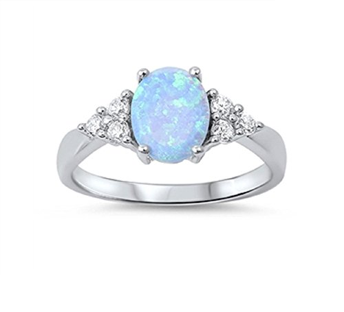 Oval Center & Side Stones Ring Light Blue Simulated Opal 925 Sterling Silver Size (Oval Center)
