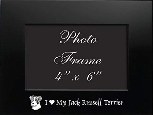 (LXG, Inc. 4x6 Brushed Metal Picture Frame-I love my Jack Russell Terrier-Black)
