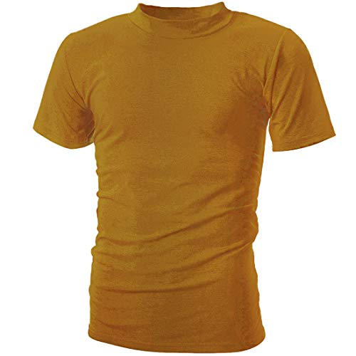(UUANG Essential T-Shirts Comfort Short-Sleeve Crew-Neck Tee Top (Yellow,L))