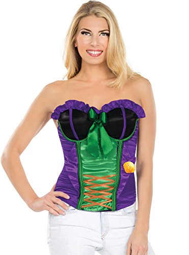(Rubies Costume Secret Wishes DC Comics Justice League Superhero Style Adult Corset Top with Logo The Joker, Purple,)