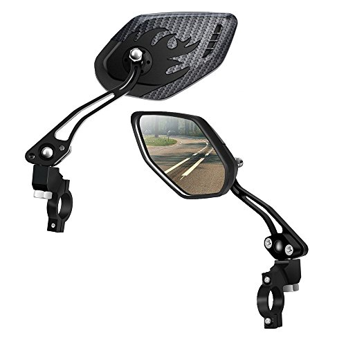 LX LERMX Bike Mirrors (Two PCS), Bar End Mountain Bicycle Mirror Adjustable Bike Glass Mirror Rotatable Safe Rearview for Bicycle Electric Bike Cycling