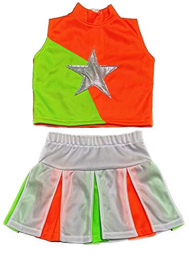 Little Girls' Cheerleader Cheerleading Outfit Uniform Costume Cosplay (S / 2-5, Neon Green/Neon Orange/White)