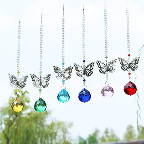 Crystalsuncatcher Butterfly Suncatcher with 30mm Ball Prism Art Glass Hanging Charm,Set of 6 -