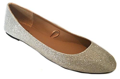 Scarpe 18 Scarpe Basse Donna Balletto Glitter Argento 5067 Argento