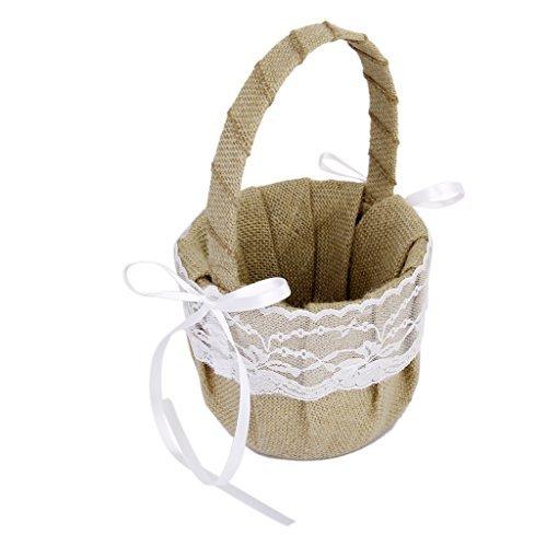 Rustic Burlap Wedding Flower Girl Basket White Lace Bow WayGo