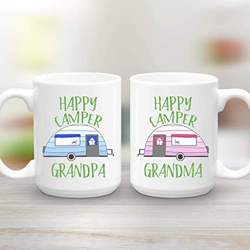 Grandpa and Grandma Happy Camper 2 Mug Gift Set, 2 15 oz Coffee Mugs