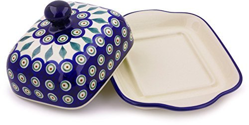 Polish Pottery Butter Dish 8-inch (Peacock Leaves)